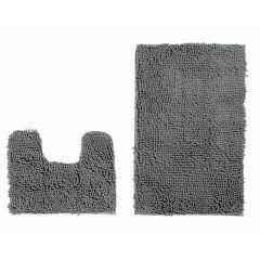 Chenille Teppich Mikrofaser Badematte Set Grau Rutschfest