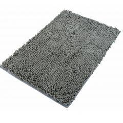 Chenille Teppich Mikrofaser Badematte Rutschfest Grau