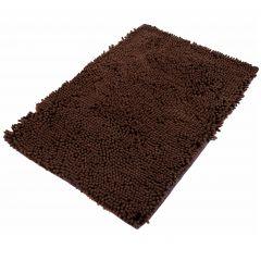 Chenille Teppich Mikrofaser Badematte Rutschfest Dunkelbraun