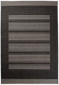 FLOORLUX Tapis Moderne Rayures Noir Gris Résistant Sisal
