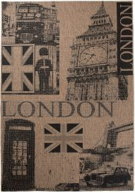 FLOORLUX Teppich Sisal Flachgewebe Braun Schwarz Schrift London