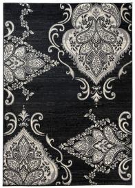QMEGA Vloerkleed Zwart Creme Bloemen Design Modern Woonsfeer