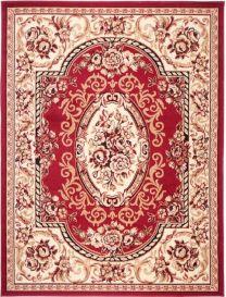 ATLAS Teppich Klassisch Kurzflor Orientalisch Blumen Rot Creme