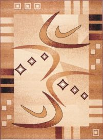 ATLAS Area Rug Modern Abstract Contemporary Short Pile Beige