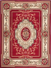 ATLAS Area Rug Traditional Short Pile Medallion Frame Red