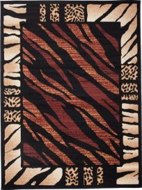 ATLAS Area Rug Modern Short Pile Safari Tiger Brown Black