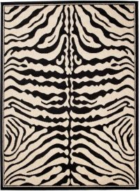 ATLAS Area Rug Modern Short Pile Safari Zebra Cream Black