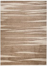 SARI Area Rug Modern Contemporary Short Pile Stripes Dark Beige