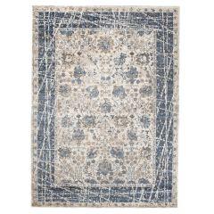 TAPISO TIBET Teppich Klassisch Kurzflor Vintage Orientalisch Floral Ziegler Muster Blau Creme Wohnzimmer Schlafzimmer ÖKOTEX