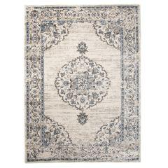 TAPISO TIBET Teppich Klassisch Kurzflor Orientalisch Medaillon Floral Ziegler Vintage Muster Creme Blau Wohnzimmer ÖKOTEX