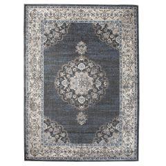 TAPISO TIBET Teppich Klassisch Kurzflor Orientalisch Medaillon Floral Ziegler Muster Grau Creme Wohnzimmer ÖKOTEX