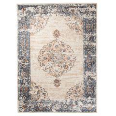TAPISO TIBET Teppich Klassisch Kurzflor Orientalisch Floral Medaillon Ziegler Muster Creme Blau Vintage Wohnzimmer ÖKOTEX