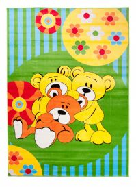 TAPISO KINDER Teppich Kurzflor Weich Kinderteppich Spielteppich Bären Teddy Blumen Muster Grün Blau Bunt Kinderzimmer ÖKOTEX