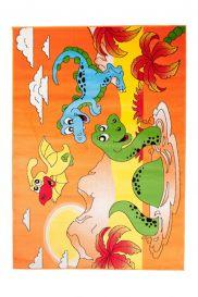 TAPISO KINDER Teppich Kurzflor Kinderteppich Spielteppich Dino Dinosaurier Teich Muster Rot Bunt Kinderzimmer ÖKOTEX