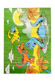 TAPISO KINDER Teppich Kurzflor Kinderteppich Spielteppich Dino Dinosaurier Teich Muster Grün Gelb Bunt Kinderzimmer ÖKOTEX