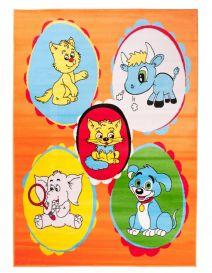 TAPISO KINDER Teppich Kurzflor Kinderteppich Katze Hund Elefant Tiere Muster Orange Bunt Designer Kinderzimmer ÖKOTEX