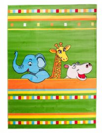 TAPISO KINDER Teppich Kurzflor Kinderteppich Weich Zoo Tiere Streifen Muster Grün Bunt Designer Kinderzimmer ÖKOTEX