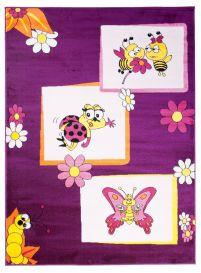 TAPISO KINDER Teppich Kurzflor Spielteppich Kinderteppich Bienen Schmetterling Käfer Muster Lila Kinderzimmer ÖKOTEX