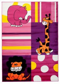 TAPISO KINDER Teppich Kurzflor Kinderteppich Weich Spielteppich Elefant Giraffe Tiger Tiere Muster Lila Rosa Kinderzimmer ÖKOTEX