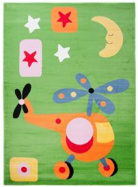 TAPISO KINDER Teppich Kurzflor Spielteppich Kinderteppich Hubschrauber Helikopter Mond Muster Grün Bunt Kinderzimmer ÖKOTEX