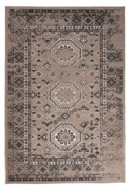 TAPISO VERSE Teppich Kurzflor Modern Vintage Orient Ornament Designer Muster Farbe Braun Bordüre Shabby Chic Style Wohnzimmer