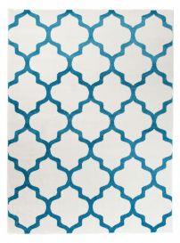 MAROKO Teppich Kurzflor Modern Marokkanisch Gitter Creme Blau