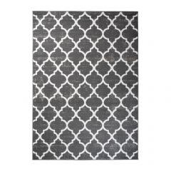Fire Teppich Kurzflor Marokkanisch Kleeblatt Gitter Grau Weiß
