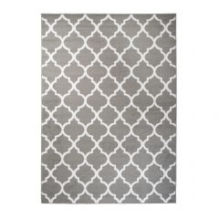 FIRE Area Rug Modern Contemporary Short Pile Trellis Grey White