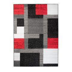 Fire Teppich Kurzflor Modern Vierecke Design Grau Schwarz Rot