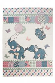 HAPPY Teppich Kurzflor Modern Kinderteppich Creme Bunt Elefanten