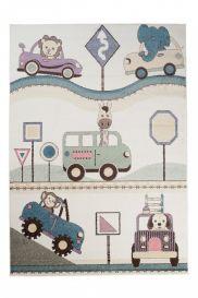 HAPPY Teppich Kurzflor Modern Kinderteppich Creme Fahrzeuge