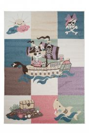 HAPPY Kids Area Rug Short Pile Play Mat Pirates Multicolour