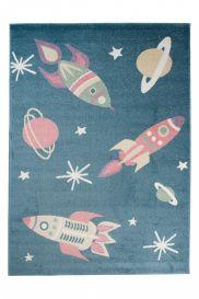 HAPPY Tapis Moderne Cosmos Planètes Bleu Marine Multicolore Doux