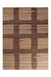 SCARLET Teppich Kurzflor Vierecke Geometrisch Modern Beige Braun