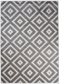 MAROKO Area Rug Modern Short Pile Diamond Geometric Grey Cream
