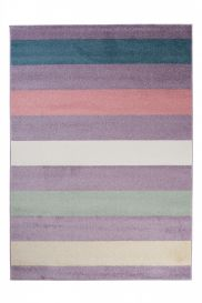 HAPPY Area Rug Modern Short Pile Youth Stripes Colourful Lilac