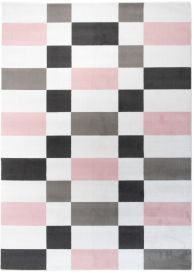 PINKY Modern Area Rug Bedroom Youth Geometric White Grey Pink