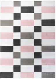 PINKY Tapis Moderne Géométrique Rose Blanc Noir Fin