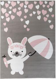 PINKY Tapis Moderne Lapin Coeurs Gris Blanc Rose Noir Fin