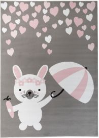 Pinky Teppich Kurzflor Kinderteppich Grau Rosa Weiß Hase