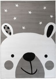 Pinky Teppich Kurzflor Kinderteppich Grau Weiß Bär