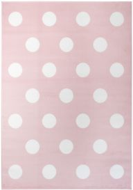PINKY Modern Area Rug Children Youth Room White Dots Pink
