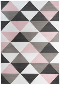 PINKY Modern Area Rug Bedroom Youth Triangle White Grey Pink