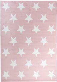 Pinky Teppich Kurzflor Kinderteppich Rosa Weiß Sterne