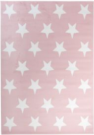 PINKY Tapis Moderne Etoiles Rose Blanc Jeu Fin Doux