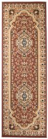 ATLAS Traditional Carpet Runner Short Pile Floral Brown Beige