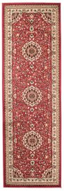 ATLAS Traditional Carpet Runner Ornamental Frame Red Short Pile