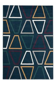 CAN Area Rug Modern Short Pile Geometric Trapeze Navy Blue