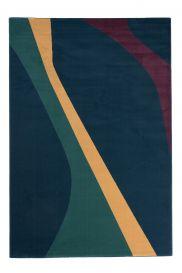 CAN Area Rug Modern Short Pile Lines Multicolour Navy Blue