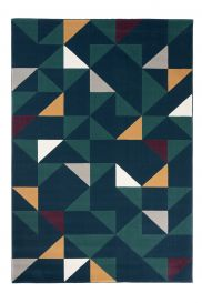 CAN Area Rug Modern Short Pile Geometric Triangle Navy Blue